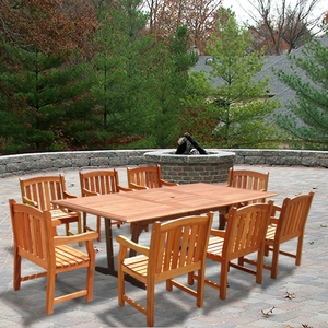 Rectangular Extension Table & Wood Armchair Outdoor Dining Set by Vifah