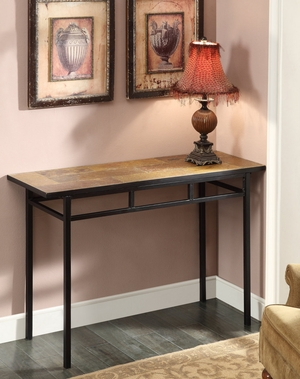 Rectangular Long Fancy Slate Top Black Metallic Table by 4D Concepts