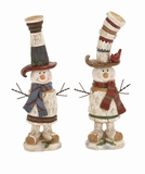 "Red & Blue Polystone Snowman Set of 2 Assorted 15"", 14""H by Woodland Import"