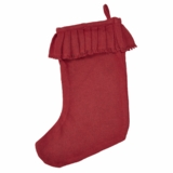 Red Burlap Ruffled Stocking 11x15
