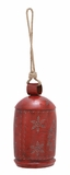 "Red Colored Festive Metal Bell w/ Snowflakes & Christmas Tree Design 8""W, 30""H by Woodland Import"