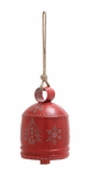 "Red Colored Metal Talla Bell w/ Christmas Tree & Snowflakes 8""W, 24""H by Woodland Import"