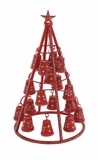 "Red Festive Metal Xmas Tree w/ Bells 15""W, 25""H by Woodland Import"