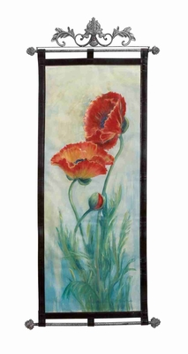 "Red Fleur Leather Wall Hanging W Metal Scroll 56""x25"" Brand Woodland"