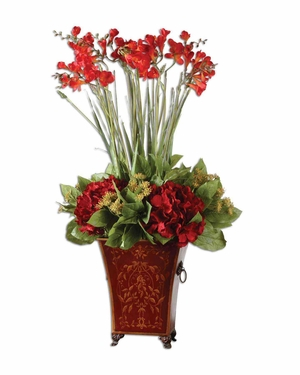 Red Freesia In English Classic Metal Tole Planter Brand Uttermost