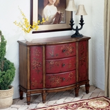 "Red Hand Painted Console Cabinet 39""W by Butler Specialty"
