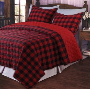 Red Plaid Retro Cotton Quilt King 3 Pcs Set Quilts Brand Greenland Home fashions