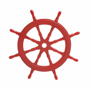 Red Polished Attractive Wood Ship Wheel by Woodland Import