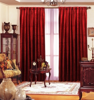 "Red Velvet Window Theater Curtain Drape 108"" by Maifa"