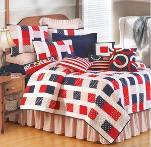 Red White And Fun Cotton Handmade Quilt King Size, 108 Inch X 90 Inch Brand C&F