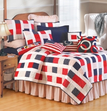 Red White And Fun Handmade Cotton Quilt Queen Size, 90 Inch X 90 Inch Brand C&F