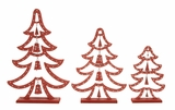 Red Wood Metal Xmas Tree Set Of 3 - 24244 by Benzara