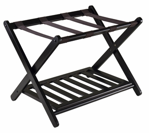 Winsome Wood Reese Foldable and Portable Luggage Rack with shelf