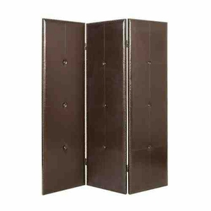 Regent Black Faux Leather Screen, 3 Panel, 60 Inch L x 72 Inch H Brand Screen Gems