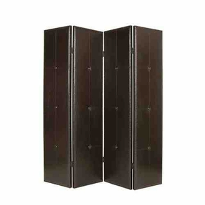 Regent Black Faux Leather Screen, 4Panel, 76 Inch L x 84 Inch H Brand Screen Gems