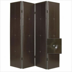 Regent Faux Leather Floor Screen Crafted with Intricate Detailing Brand Screen Gem