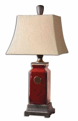 Reggie Ivory Red Table Lamp with Bronze Detailing Brand Uttermost