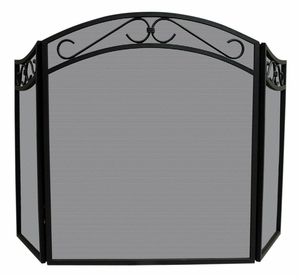 Remarkable 3 Fold Black Wrought Iron Arch Top Screen with Scrolls