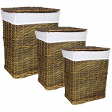 Remarkable 3pc Rectangle Willow Hamper by Entrada by Entrada