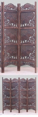 CARVED SCREEN ELEPHANT , WOOD - Room Divider