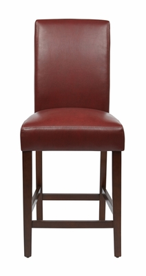 Remarkable Wooden Framed Counter Stool with Leather Seat by Office Star