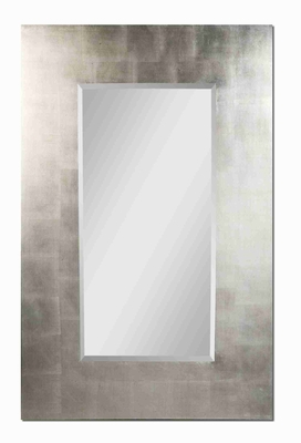 Rembrant Antiqued Wall Mirror with Wide Silver Leaf Frame Brand Uttermost