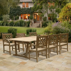 Renaissance Rectangular Extension Table & Armchair Outdoor Hardwood Dining Set by Vifah