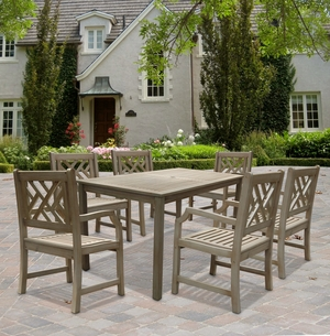 Renaissance Rectangular Table & Arm ChairOutdoor Hand-scraped Hardwood Dining Set 9