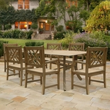 Renaissance Rectangular Table & Armchair Outdoor Hardwood Dining Set by Vifah