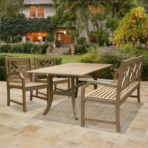 Renaissance Rectangular Table - Bench- Armchair Outdoor Hardwood Dining Set by Vifah