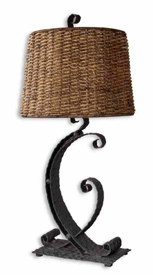 Rendall Metal Table Lamp in Rustic Black Finish Brand Uttermost