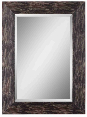 Reptilia Wall Mirror with Faux Leather Reptile Like Wood Frame Brand Uttermost