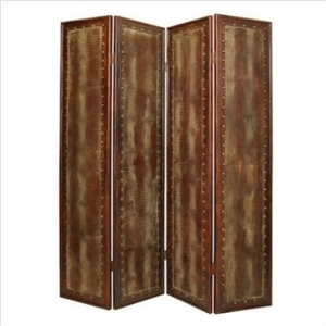 Reptilian Faux Leather Floor Screen Crafted with Antiqued Brass Brand Screen Gem