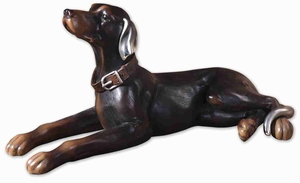 Resting Dog Statue Sculpture With Caramel and Silver Details Brand Uttermost