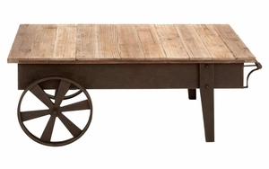 Restoration Coffee Table With Reclaimed Wood And Iron Body - 55815 by Benzara