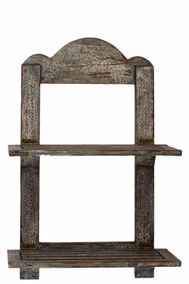 Retro Styled Antique Patch Look Wooden Shelf