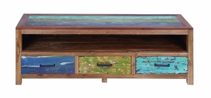 "Retro Wooden Media Center with Rugged Finish 22"" Height x 63"" Wide Brand Woodland"