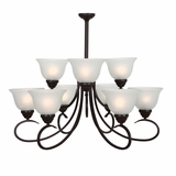 Ribbon Falls Attractive 9 Lights Chandelier in Oil Rubbed Bronze Finish by Yosemite Home Decor