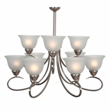 Ribbon Falls Enthralling Modish Styled 9 Lights Chandelier Satin Nickel Finish by Yosemite Home Decor