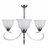 Ribbon Falls Uniquely Styled 3 Light Chandelier in Satin Nickel Finish by Yosemite Home Decor
