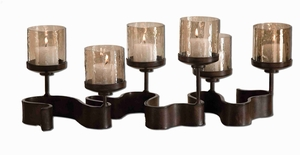 Ribbon Metal Candle Holder With Translucent Copper Brown Glass Brand Uttermost