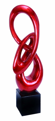 Ribbon shaped Polystone Sculpture in Red with Black Base Brand Woodland