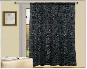 Rich And Deep Zebra Style Organza Flocking Panel Curtain Brand Kashi