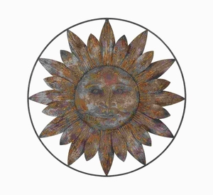 Rich Brown Finish Metal Sun Wall Decor with Casual Setups Brand Woodland