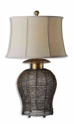 Rickma Woven Metal Table Lamp with Gold Leaf Finish Brand Uttermost