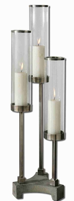 Risto Brushed Aluminum Candle Holder With Clear Glass Globe Brand Uttermost