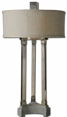 Risto Metal Table Lamp with Aluminum Concrete Base Brand Uttermost