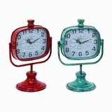 Robust and Durable Metal Clock in Red and Green Color (Set of 2) Brand Woodland