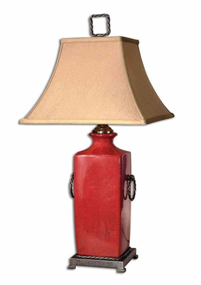 Rocco Red Table Lamp with Dark Bronze Metal Detailing Brand Uttermost