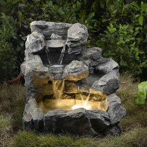 Rock Creek Cascading Outdoor/Indoor Fountain with Illumination Brand Zest